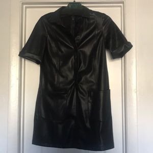 Faux leather dress with pockets M